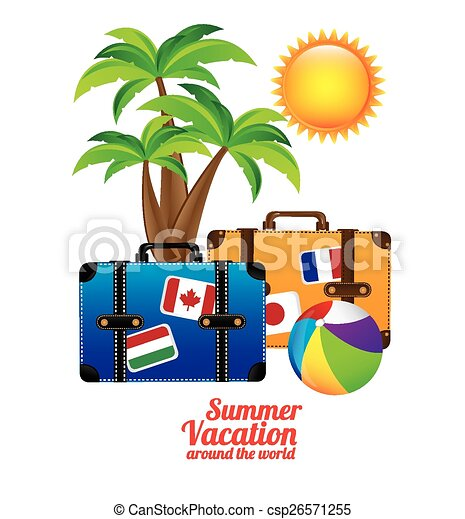 summer vacation design over white background vector clipart rh canstockphoto com school summer vacation clipart summer vacation clipart black and white