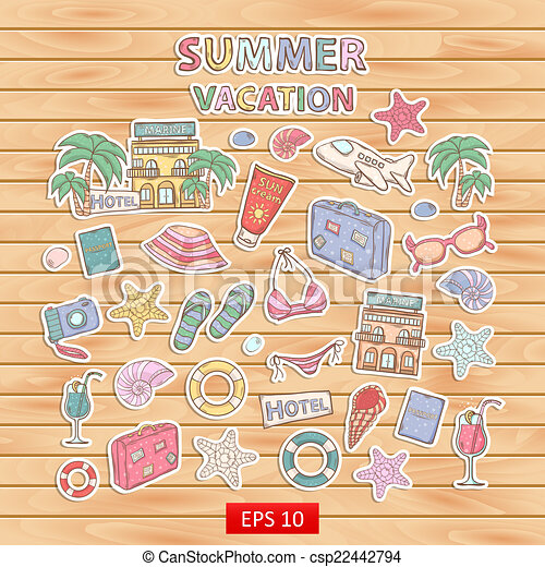 Summer Vacation Scrap Setrapbook Setickerwith Themed Elements