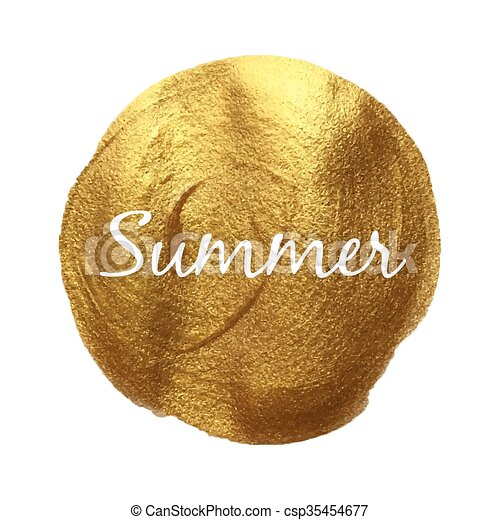 Summer vector quote hand drawn illustration icon card isolated paint hand drawn gold - csp35454677