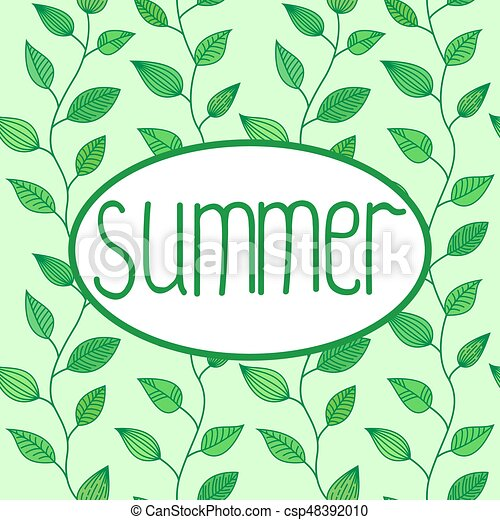 Summer vector sign in oval frame with leaves background, decoration for banners - csp48392010