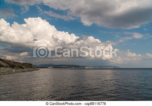 Summer view of the Cape Thick-Gelendzhik on the part of the Black sea. - csp88116776