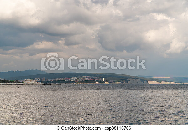 Summer view of the Cape Thick-Gelendzhik on the part of the Black sea. - csp88116766