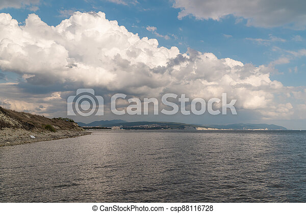 Summer view of the Cape Thick-Gelendzhik on the part of the Black sea. - csp88116728