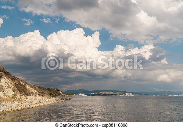 Summer view of the Cape Thick-Gelendzhik on the part of the Black sea. - csp88116808