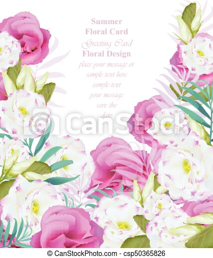 Summer Watercolor Flowers Vector Beauty Invitation Card Backgrounds