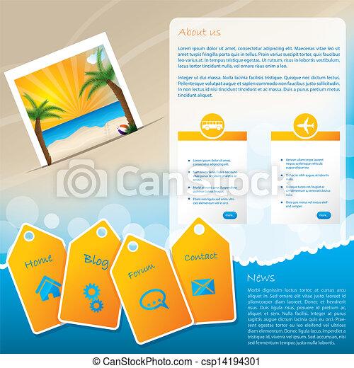 Summer website template design with beach - csp14194301