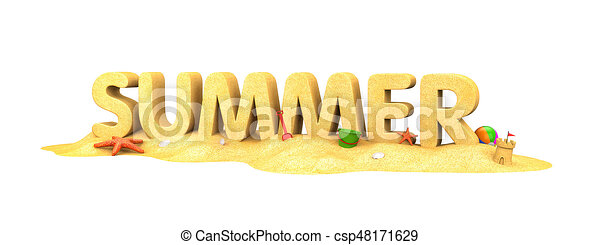 Summer - word of sand. 3d illustration.