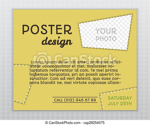 Summer Yellow Stylish Poster Invitation Template With Unusual Design Corporate Identity Isolated On Grey Background Vector