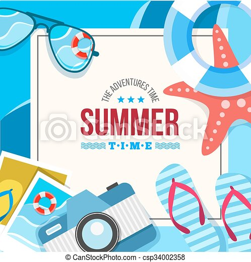 summertime background card - csp34002358