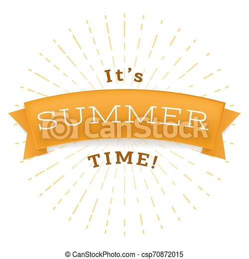 Summertime relax flat vector banner. It is summer time phrase on golden ribbon, warm season relax inscription. Positive message for social media post with stylized sun rays in round frame - csp70872015