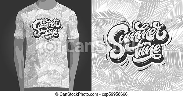 e9004aacb79a Vector. Summertime typography with tropical seamless pattern. Template for t -shirt design