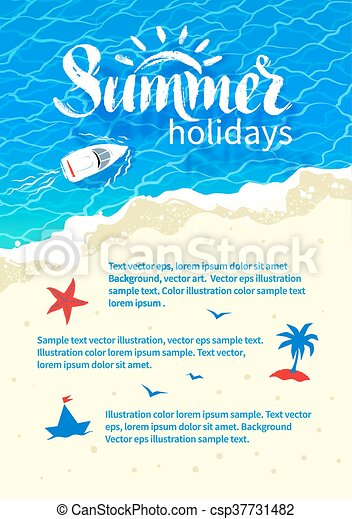 Summertime vacation flyer design - csp37731482