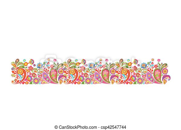 Summery border with decorative colorful flowers print - csp42547744