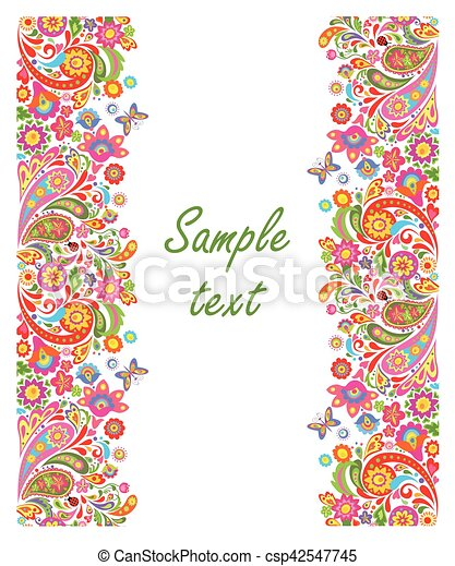 summery greeting card with seamless decorative floral border eps rh canstockphoto com flower border vector free download floral border vector vintage