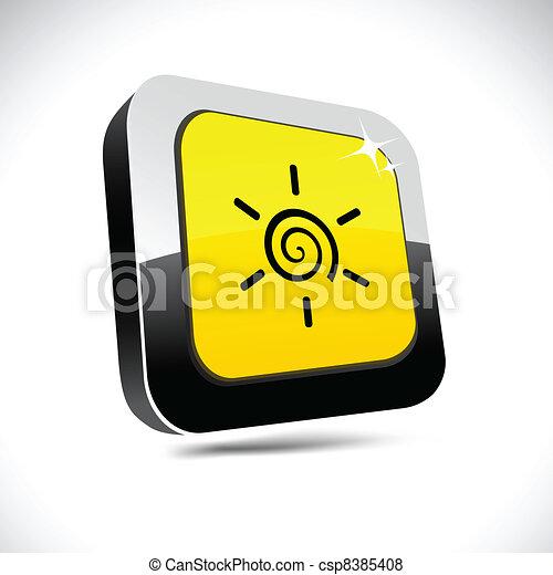 Sun 3d square button. - csp8385408