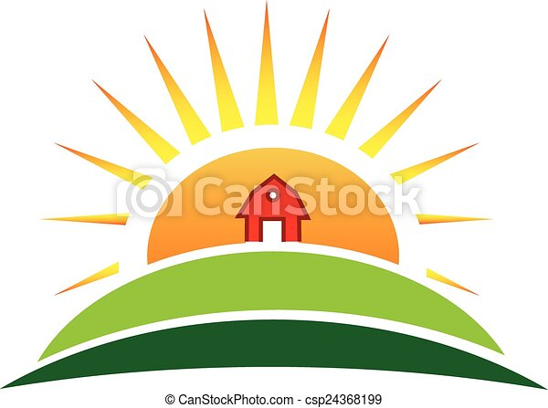 Sun agriculture farm logo - csp24368199