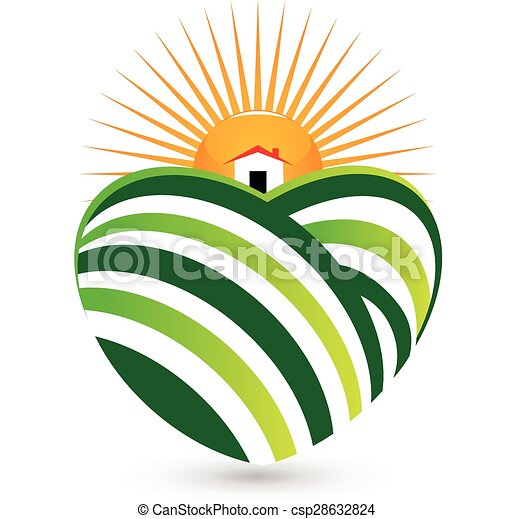 sun agriculture house logo sun agriculture landscape house rh canstockphoto com Free River Vector Cartoon Pictures of Farms and Crops Troctors