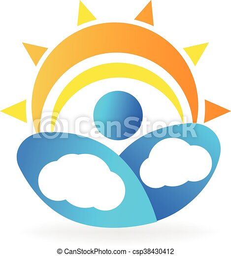 sun and clouds logo vector vector clip art search illustration rh canstockphoto com sun behind clouds clipart Sun and Cloud Icon