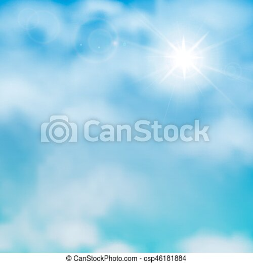 Sun and clouds on a blue sky - csp46181884