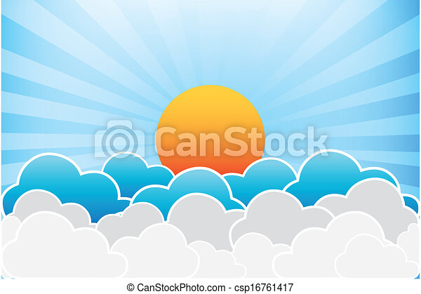 Sun And Clouds Vector - csp16761417
