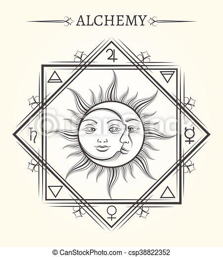 Sun and moon astrology mystical symbol - csp38822352