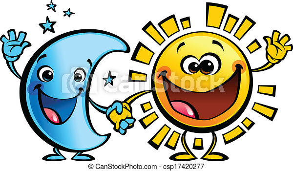 sun and moon best friends baby cartoon characters shining yellow rh canstockphoto com sun and moon clipart black and white pokemon sun and moon clipart
