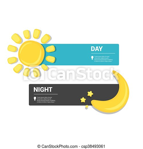 Sun and moon in sky, day and night. Vector - csp38493061