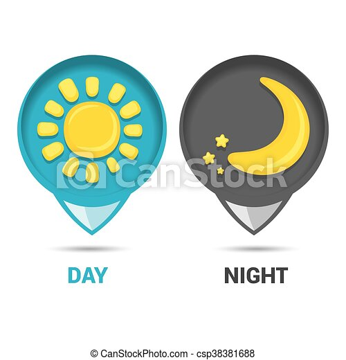 Sun and moon in sky, day and night. Vector - csp38381688