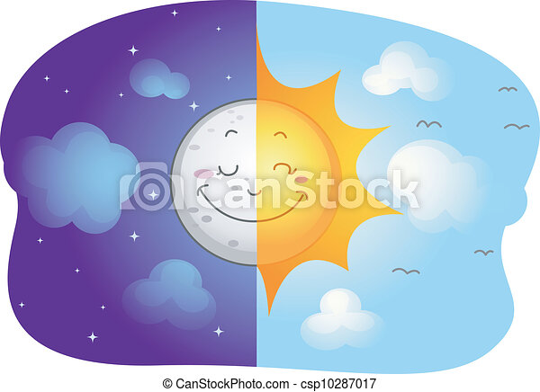 sun and moon illustration of a split screen showing the sun and the rh canstockphoto com pokemon sun and moon clipart free sun moon and stars clipart