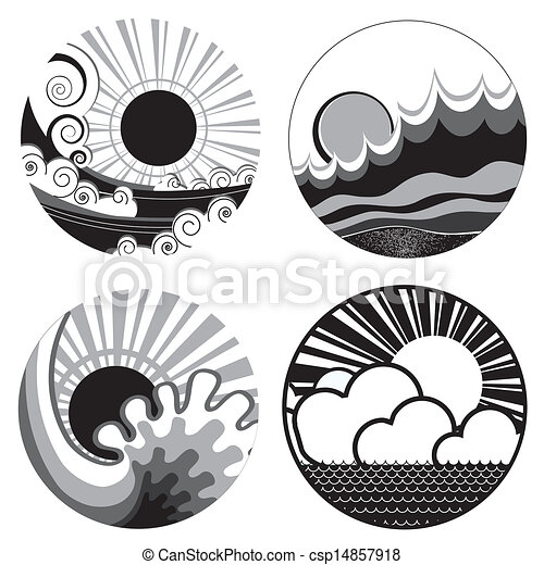 sun and sea waves vector black white graphic icons of illustration rh canstockphoto com graphic cartoons graphic cartel videos