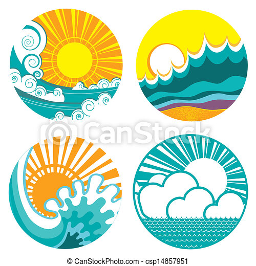 sun and sea waves. Vector icons of  illustration of seascape for - csp14857951