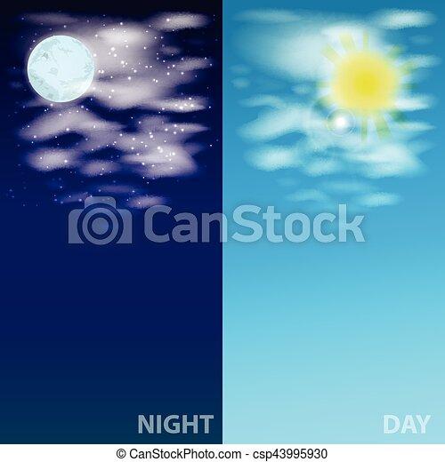 sun., céu, nuvens, ilustração, lua - csp43995930