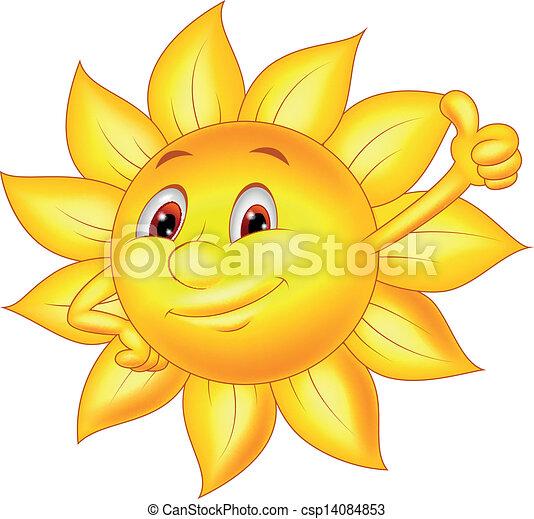 Sun cartoon character with thumb up - csp14084853