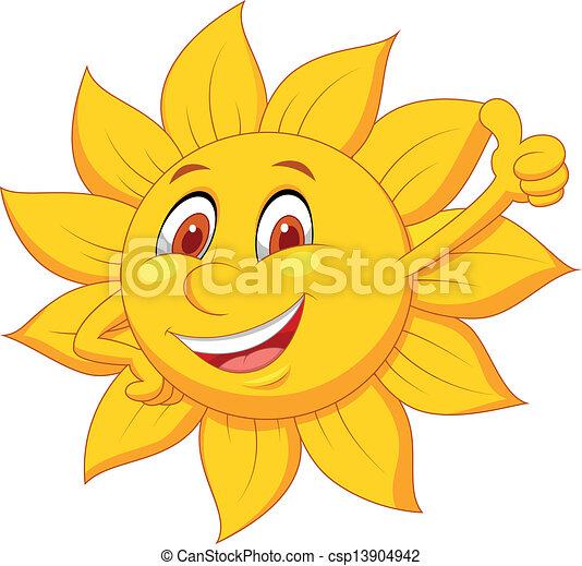 Sun cartoon character with thumb up - csp13904942