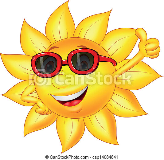 Sun cartoon character with thumb up - csp14084841