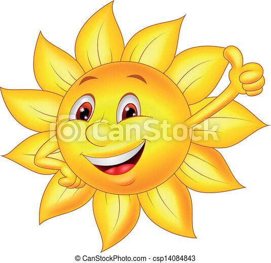 Sun cartoon character with thumb up - csp14084843