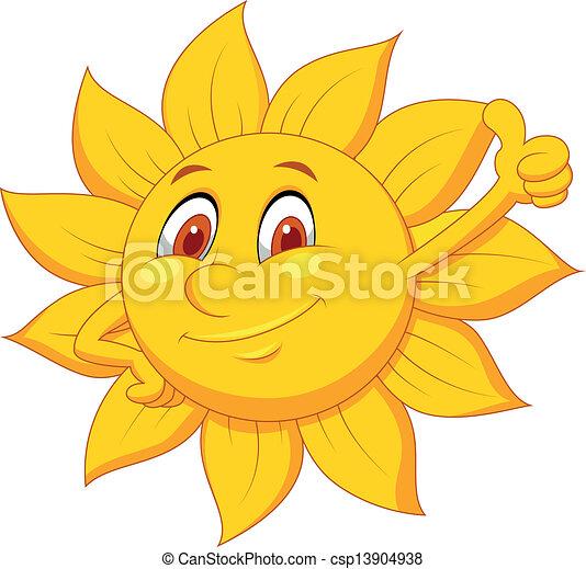 Sun cartoon character with thumb up - csp13904938
