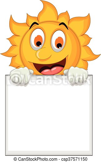 sun cartoon holding blank sign - csp37571150