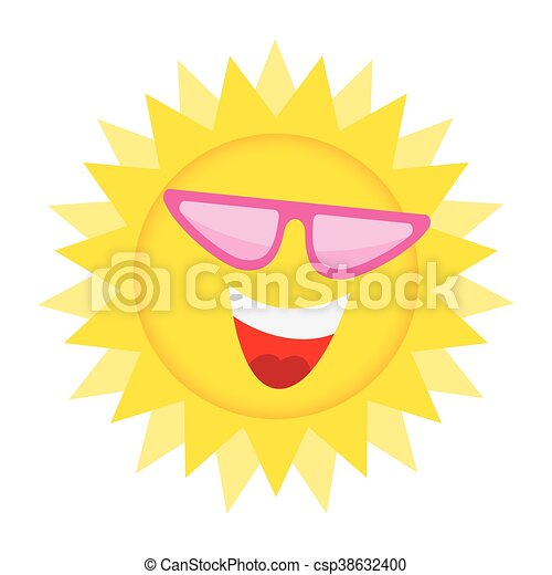 Sun Face with sunglasses and Happy Smile. - csp38632400