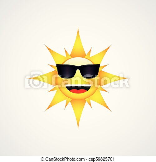 Sun Face with sunglasses and Happy Smile - csp59825701