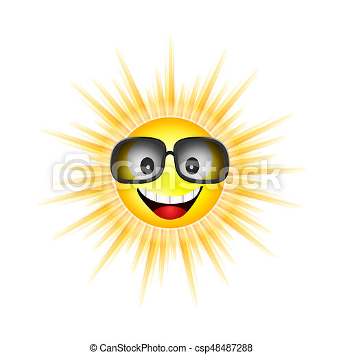 sun face with sunglasses vector illustration - csp48487288