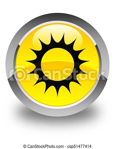 Sun icon glossy yellow round button - csp51477414