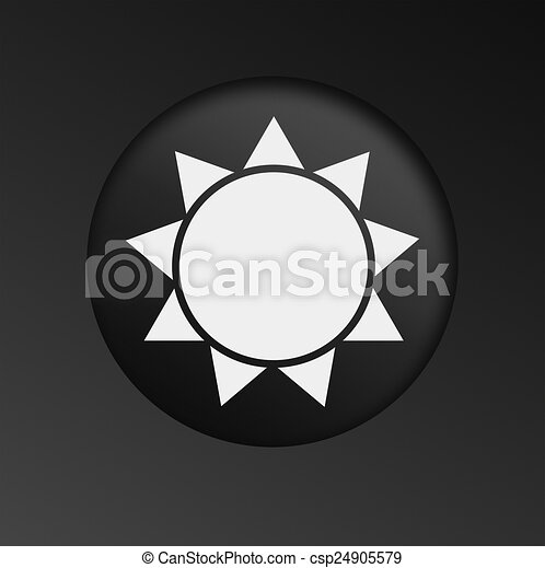 Sun Icon on Round Black Button. - csp24905579