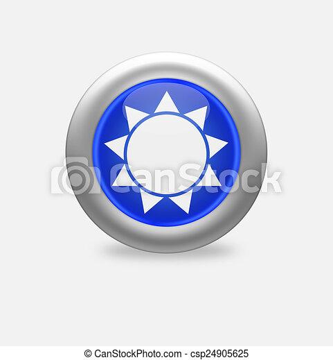 Sun Icon on round blue button. - csp24905625
