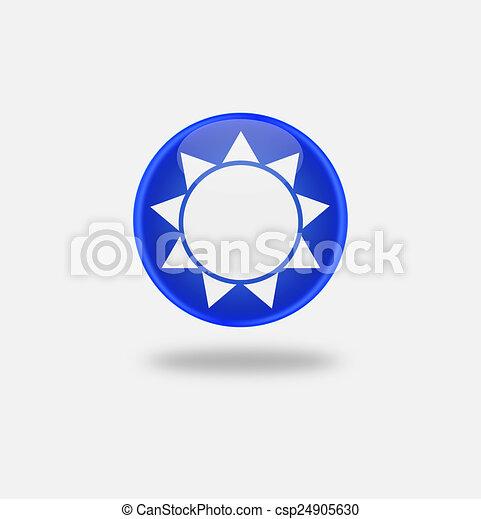 Sun Icon on round blue button. - csp24905630