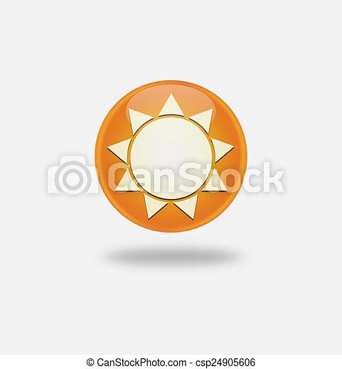 Sun Icon on round orange button. - csp24905606