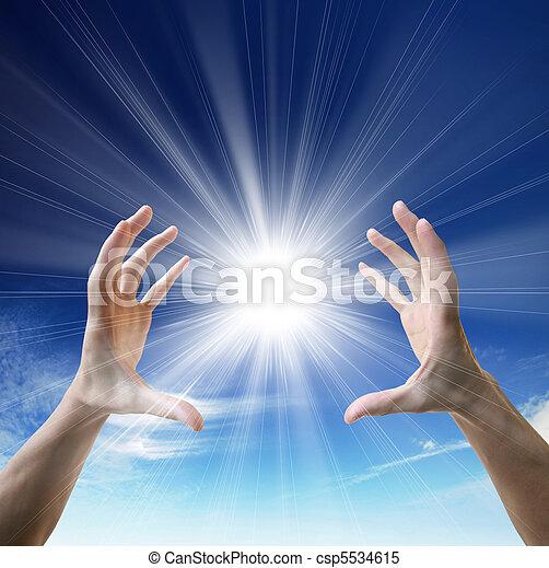 Sun in the hands - csp5534615