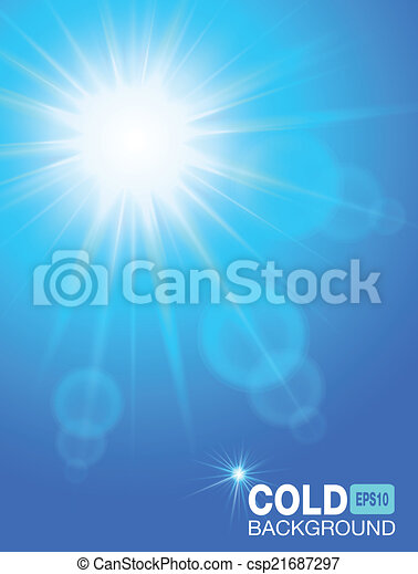 Sun in the sky. Cold blue background - csp21687297