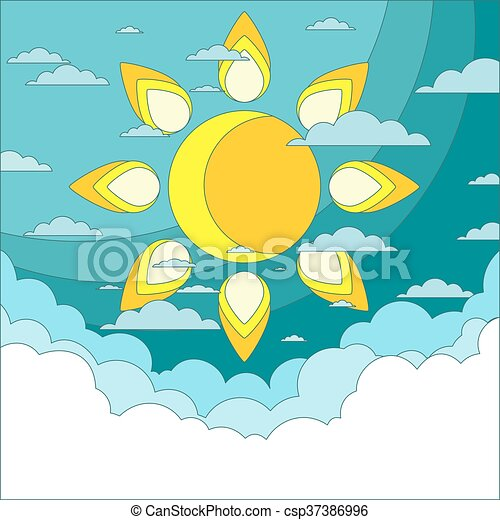 Sun in the sky. Good weather background. Vector - csp37386996
