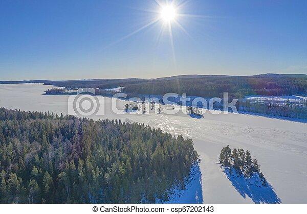Sun in winter drone photo - csp67202143